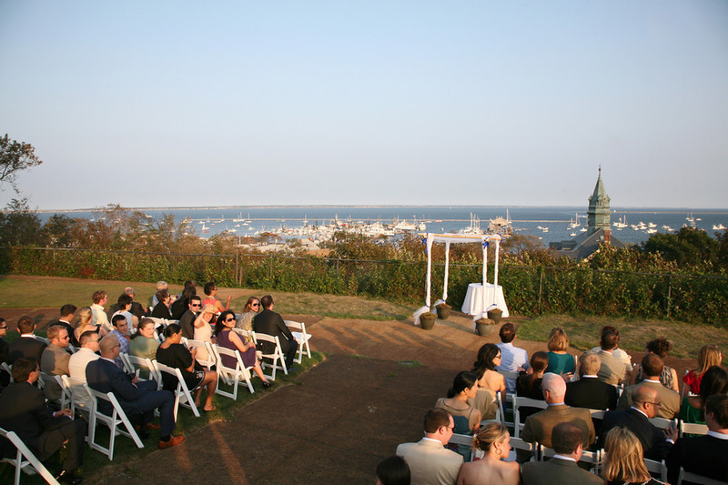 Wedding ceremony overlooking the water at Pilgrim Monument in Cape Cod, MA. - Pilgrim Monument - The Casual Gourmet, Cape Cod Wedding Caterer