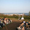 Wedding ceremony overlooking the water at Pilgrim Monument in Cape Cod, MA.