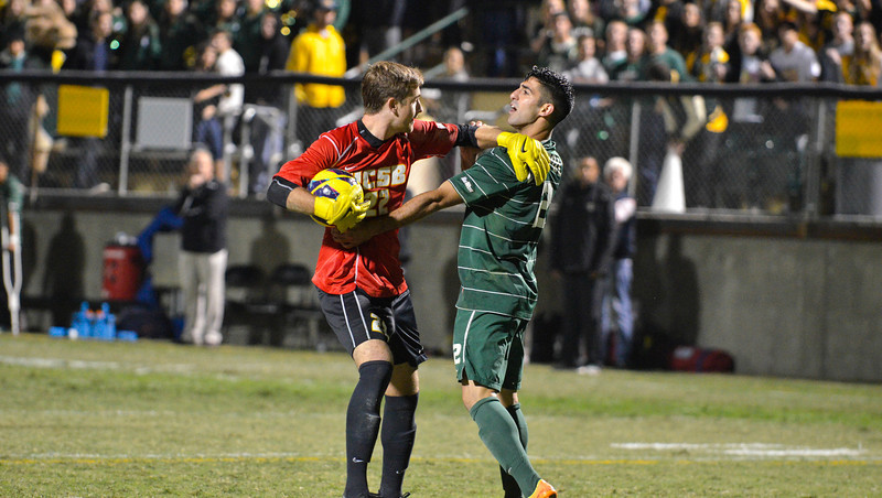 Cal Poly Men's Soccer vs UC Santa Barbra.  October 25, 2013. Photo by Ian Billings.