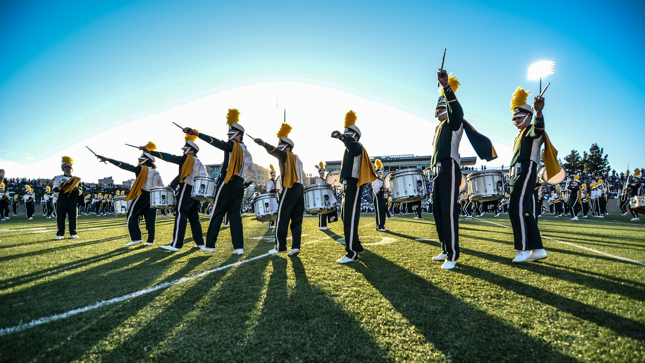The Cal Poly Mustang Marching Band and UC Davis Band-Uh! perform During the 2013 Battle for the Golden Horseshoe. November 2, 2013. Photo by Ian Billings.