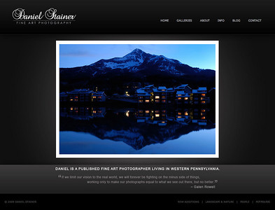Daniel Stainer - Fine Art Photography Site hosted by SmugMug and includes a homepage with flash slideshow, galleries with a show/hide thumbs feature and html pages. A Wordpress blog is also linked in the header navigation.  Visit the site: www.danielstainer.com