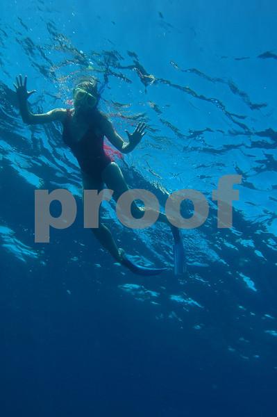D'Ann snorkels at Kailua Bay