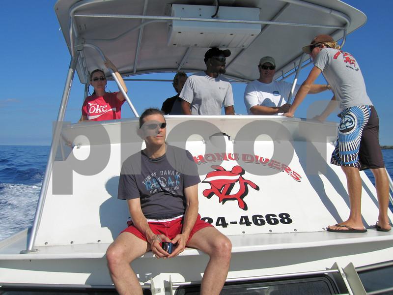D'Ann, Paul, Jim & crew on the way to Kailua Bay