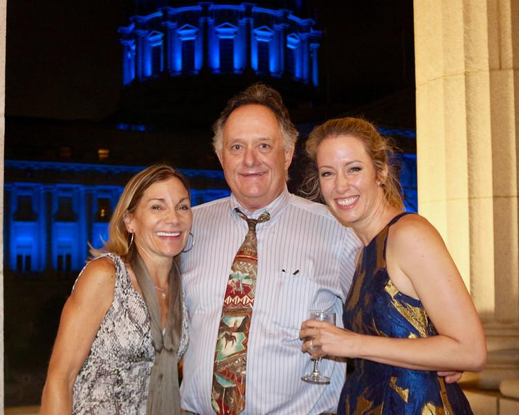 2016-08-19 Benson Hills John Wedding Reception - Kathy Frank Allie - Blue lit City Hall in back