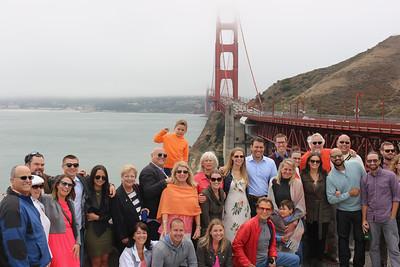 2016-08-18 Benson Hills Rehearsal Lunch Hog Island Oyster Co - Group at Golden Gate Bridge 02