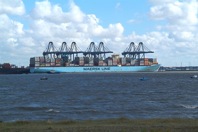 Felixstowe South Terminal. Maersk vessel unloading.