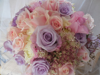 Lavender roses, pink roses, Queen anne's lace  pink lisianthus  $125
