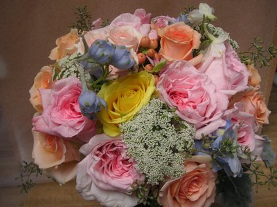 Mix of pastels- roses, delphinium, queen anne's, beans-$135