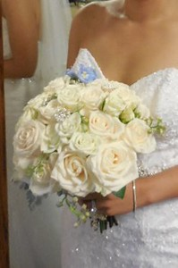 White Hydrangeas, ivory ross, blue accent- $130