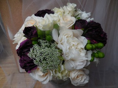 White hydrangea, queen anne's lace, beans white roses, purple peonies- $135