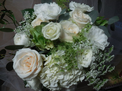 White hydrangea, roses ,lisianthus, Bells of Ireland, Queen Anne's  italian greens- $115-130