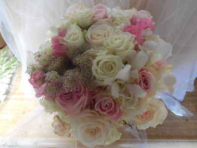 Ivory and white spray roses, queen anne's lace orchids white snapdragons  $125