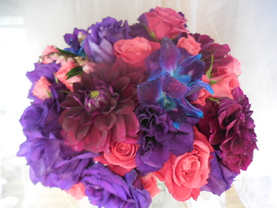 Purple lisianthus, dahlias blue orchids pink roses - pieri  $135