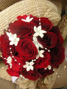 Red roses, stephanotis with pearls -$140