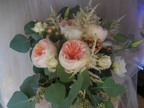 Peach Juliet Garden roses, astilbe  peach beans  lisianthks, spray roses, etc-  $145