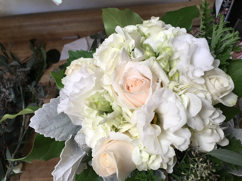 White Hydrangea, lisianthis, white snapdragons, grey miller   $115