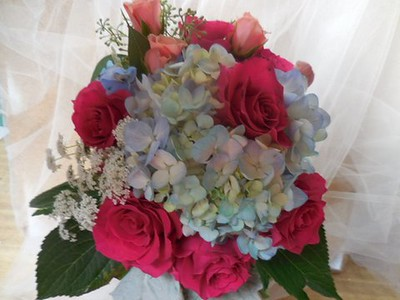 Blue hydrangea ,dark pinks ,blue, peach, $55