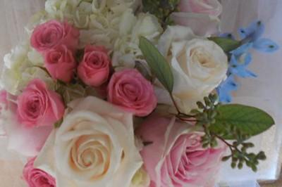 Pink roses, white rose, hydrangea blue delphinium $55
