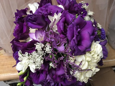Purple lisianthus , freesia,hydrangea ,  queen annes lace $135