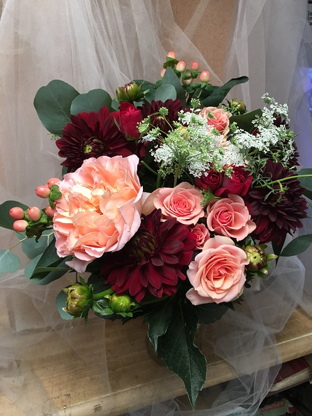 Burgundy dahlias, queen anne's lace , peach else,  beans, garden rose in peachy pink $140