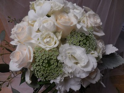 Queen anne's lace, roses, lisianthus grey miller $120