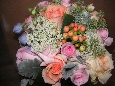 Summer pastel mix- rose, beans, delphinium seeded eucalyptus, grey miller  $140
