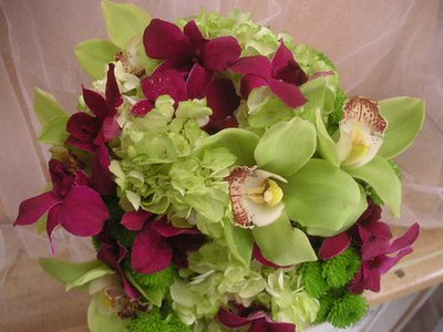 Green orchids , purple orchids, green hydrangea  $140