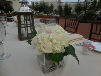 White hydrangea roses, greens-$55