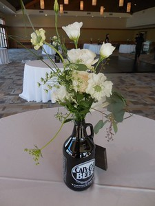 Growler with white flower mix- $65