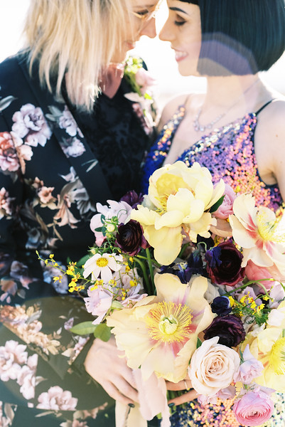 peony floral bouquet - Las Vegas dry lake bed sunrise elopement - multi-colored, sequin, fitted, unconventional wedding gown - colorful, artistic, and unconventional desert elopement inspiration - Kristen Krehbiel - Kristen Kay Photography - Las Vegas Wedding and Elopement Photographer