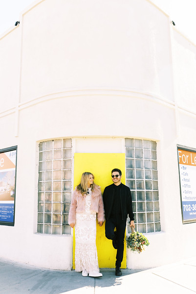 fun & colorful elopement ideas for your unique Downtown Las Vegas Elopement with Kristen Kay Photography - Las Vegas elopement photographer and Super 8 videographer | #elopement #pinkfurcoat #yellowdoor #downtown #lasvegas