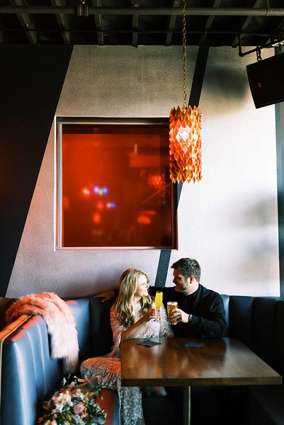 view fun ideas for your unique DOWNTOWN LAS VEGAS ELOPEMENT with KRISTEN KAY PHOTOGRAPHY - order a drink at a rad, retro local downtown bar   #elopement #bar #retro #vegas #downtown #lasvegas