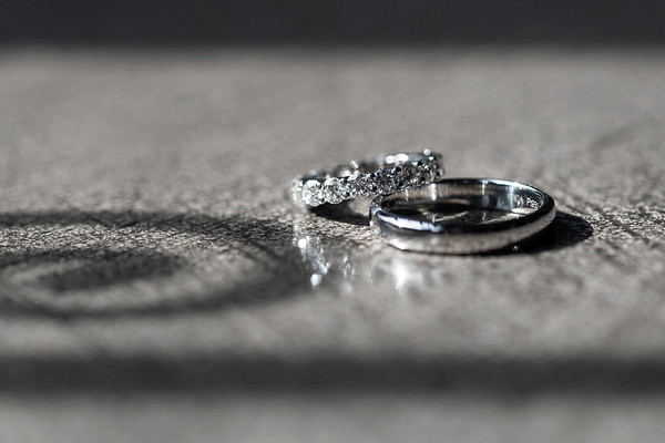 Weddings Ring on Stone with Delicate Shadows