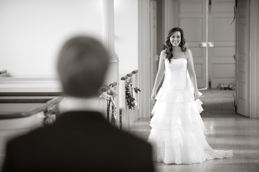The bride and groom see each other for the first time. Daniel Taylor Photography