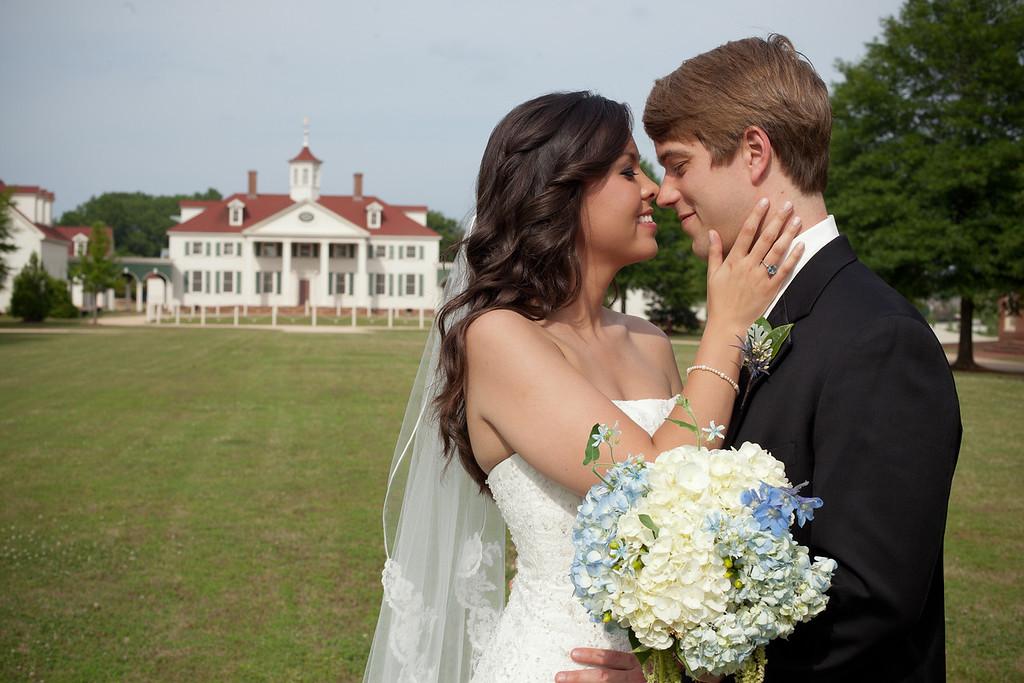 The bride and groom at Mt. Vernon, American Village, in Montevallo, AL. Daniel Taylor Photography