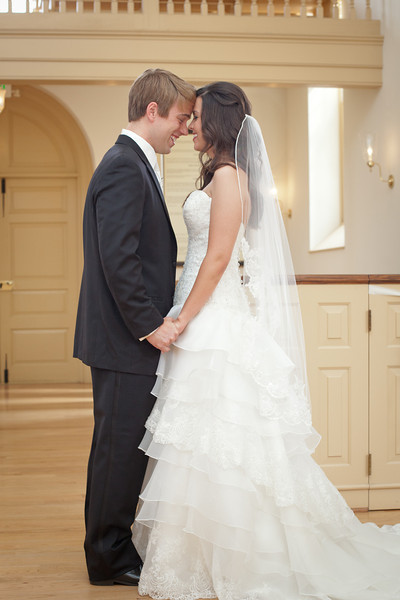 The bride and groom in the American Village chapel. Daniel Taylor Photography
