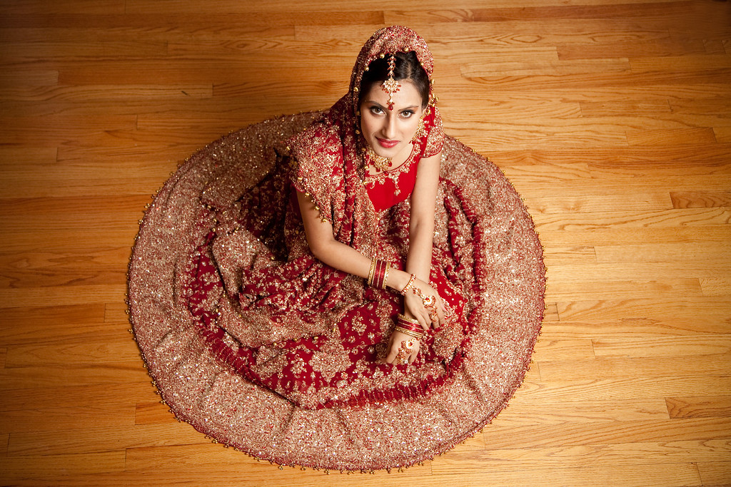 It's always fun to show off the wedding lengha skirt for an Indian bridal portrait. Kelli + Daniel Taylor Photography