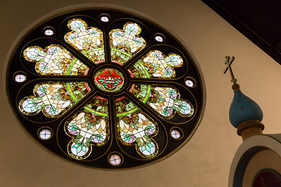 Beautiful stain-glass at Joy of All Who Sorrow Eastern Orthodox Church, Indianapolis, IN