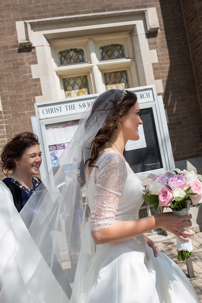 Happy bride, entering Christ the Savior Orthodox Church in downtown Chicago, IL. What a day!