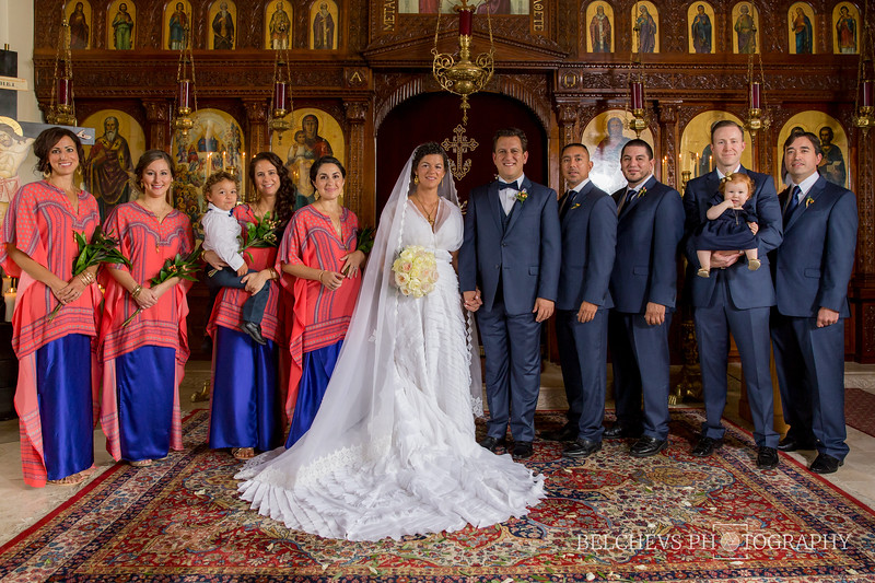 Bridal party, in what looks like royal attire, at All Saints Greek Orthodox Church in Chicago land (Joliet, IL)