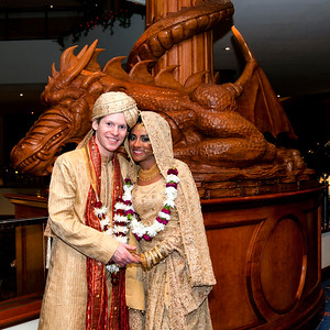 The Celtic Manor Lobby, Wedding Couple and Dragon Statue