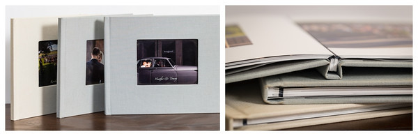 Coffee Table books have cameo covers and thick lay-flat pages.