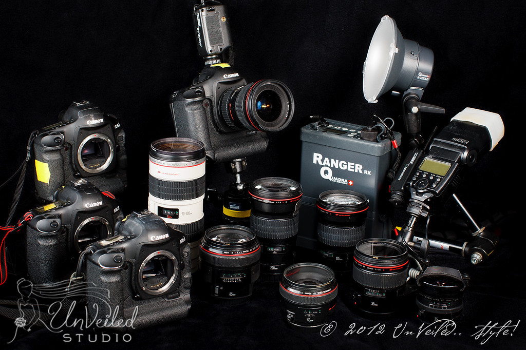 This is some of our gear. (We've added new goodies since the picture). <br /> We have back-ups for everything, including double cards in the cameras. <br /> And with 2 shooters, we are NOT going to miss an important moment.<br /> <br /> BODIES<br /> 2 - Canon 1DX<br /> 2 - Canon 5D MkIII <br /> 1 - Canon 5D MkII<br /> 1 - Canon 1D MkIII <br /> <br /> <br /> LENSES<br /> 14mm f/2.8<br /> 24mm f/1.4<br /> 35mm f/1.4           <br /> 50mm f/1.2           <br /> 85mm f/1.2 <br /> 100mm f/2.8 macro           <br /> 135mm f/2<br /> 200mm f/2.8<br /> 300mm f/2.8<br />  <br /> 15mm Fisheye<br /> 8-15 Fisheye<br /> 16-35mm f/2.8<br /> 24-70mm f/2.8<br /> 70-200mm f/2.8<br /> <br /> LIGHTS, ETC.<br /> 4 - Elinchrom Quadras<br /> 2 - Canon 600 EX-RT Flash <br /> 2 - Canon 580 EX Flash<br /> 8 - Pocket Wizard Multimax