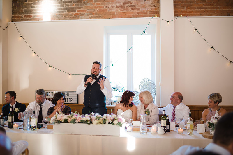Speeches inside the Coachhouse at Delbury Hall