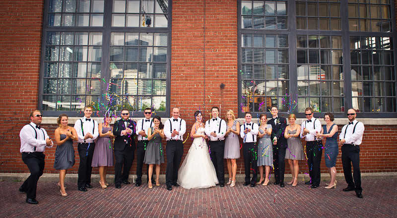 Steam Whistle Brewery wedding in the heart of the Distillery District downtown Toronto Ontario. This beautiful summer wedding was full of laughs and love as many friends and family were there to witness them recite their vows. KJ and Co provided many of the beautiful props and Toronto's own Distillery District provided an amazing backdrop. Allie & Taylor, we wish you nothing but love and laughter for many years to come!