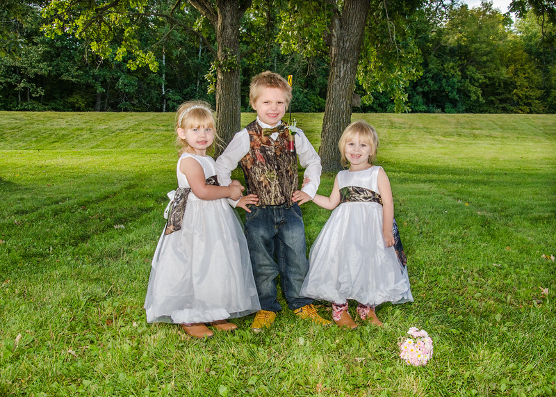 bourgeois Wedding flower girls with ring bearer