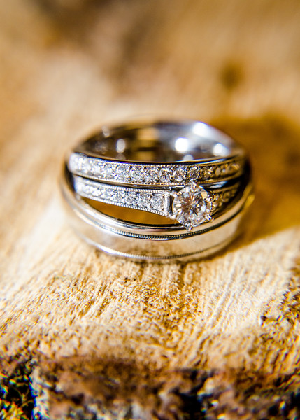 Riess wedding rings on wood