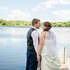 Bourgeois wedding bride and groom on dock