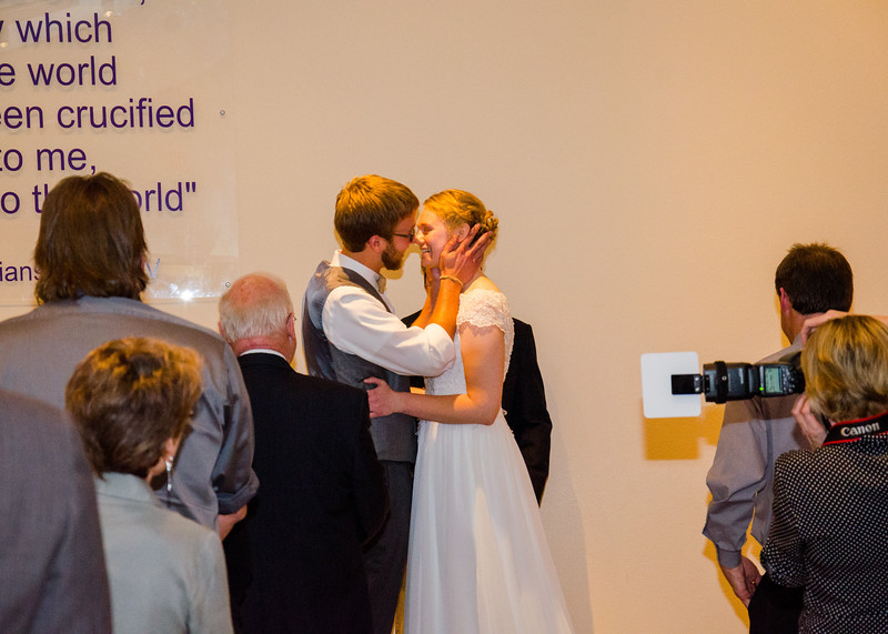 Treadway wedding bride and grooms first kiss