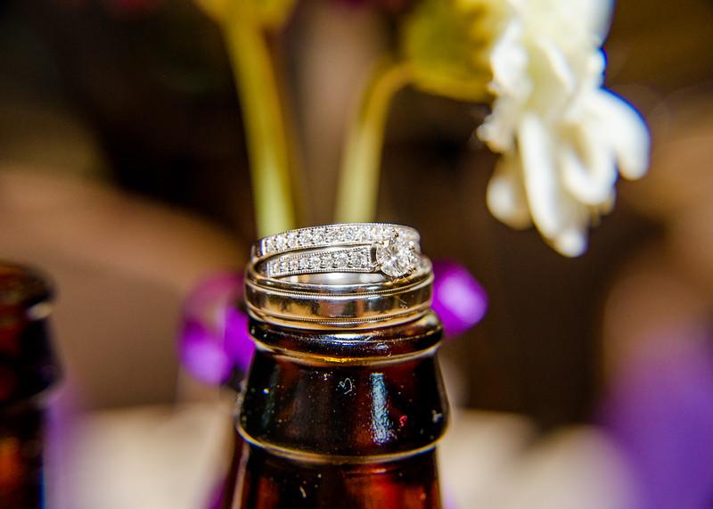 Riess wedding rings on beer